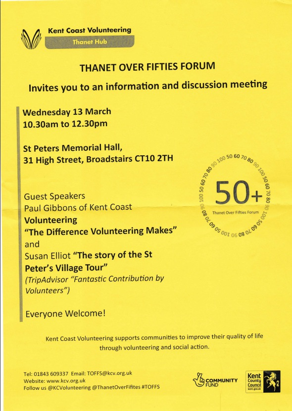 Thanet Over 50's Forum 'Living with Dementia' 13th March