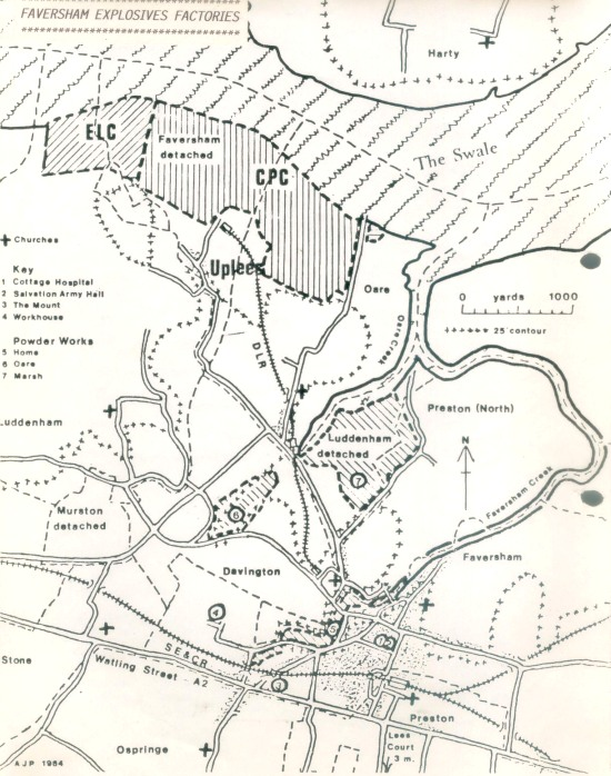 Faversham Explosives Factories Map