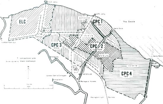 Faversham High Explosives Factories Map