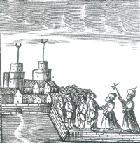 Europeans enslaved by their North African captors - two mosques in the background