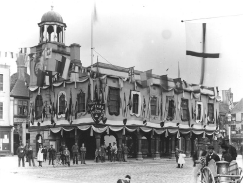 Guildhall in the Market Place decorated for Queen Victoria's Diamond Jubilee June 1897