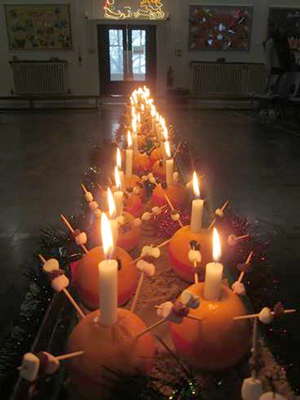 Image of Christingle service with Reverend Phil