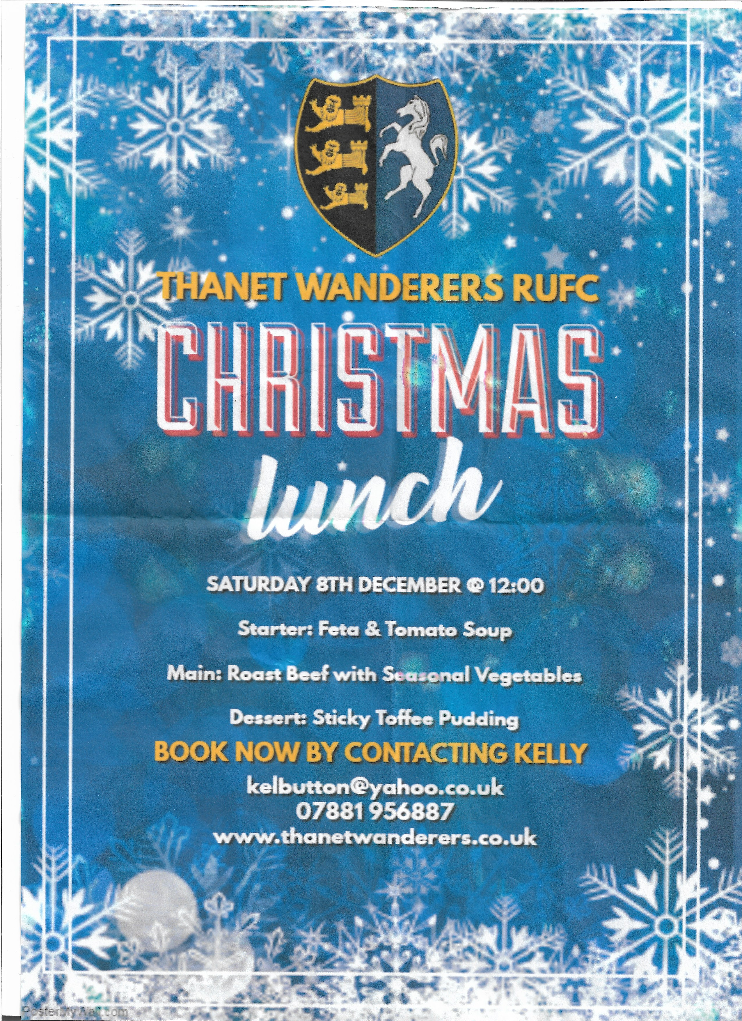 Image for the CHRISTMAS LUNCH 8TH DECEMBER news article